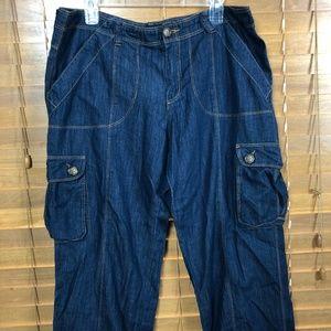 Karen Kane Denim Cargo Cuffed Capri Pants Size 14